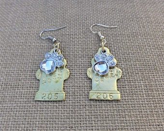 50th Anniversary Limited Edition - Recycled 1968 Brass Dog Tag Fire Hydrant Earrings with Rhinestone Dog Paw Charms