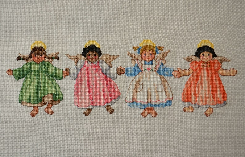 Little International Angels Finished Completed Cross Stitch