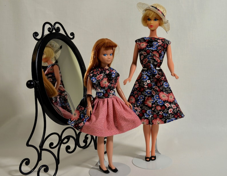 Matching Barbie and Skipper Dresses 1960s Style Doll Clothes