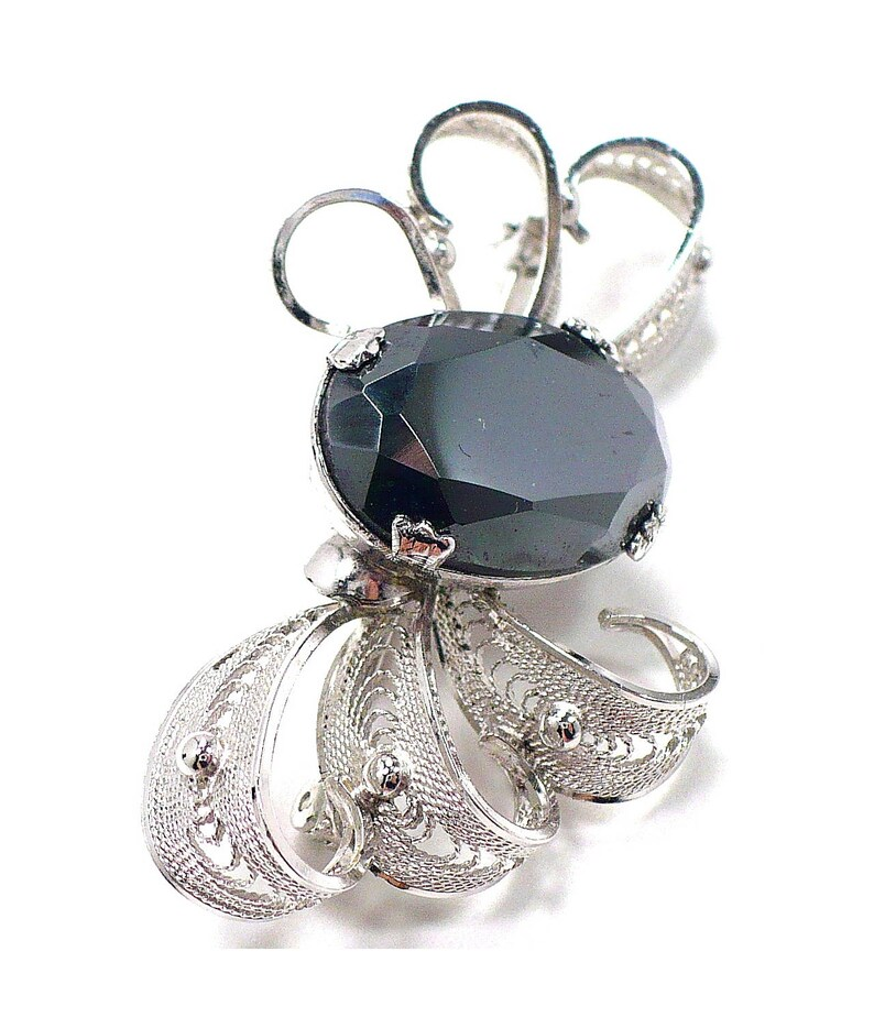 Italian Sterling Silver Filigree Signed SORRENTO Sterling Silver /& Hematite Earrings and Brooch Set