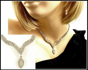 Art Deco Rhinestone Necklace, Sweetheart Neckline, Stiff Center Drop, Bridal Choker, Prom Necklace, Pageant,  Gift For Her