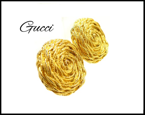 Signed Paolo GUCCI Gold Earrings, Braided Gold Rop