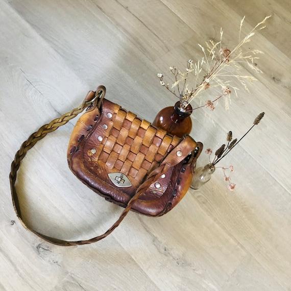 Vintage boho hippie tooled and woven leather Sadd… - image 1