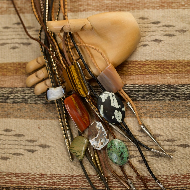 vintage unisex polished semi precious stone bolo ties  necklaces