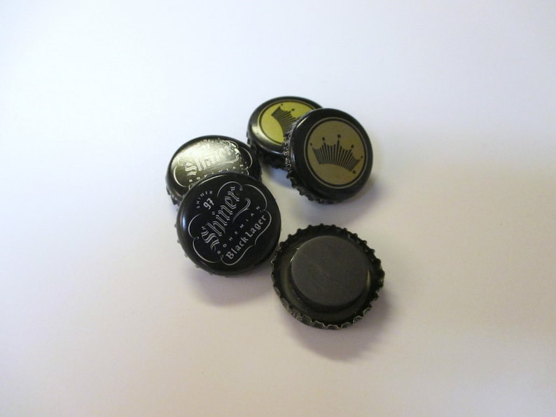 Beer Bottlecap Magnets Lager Budweiser and Shiner Bohemian Lager Mix of 5