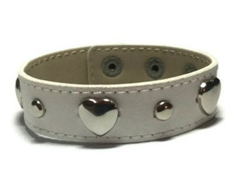 White Leather Cuff - Heart Studded Leather Bracelet Cuff - Leather Bracelet - Studded White Leather Cuff  Bracelet