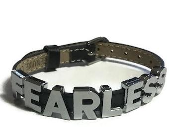 FEARLESS Bracelet - FEARLESS Leather Buckle Bracelet Wristband Strap - Word Bracelet - Charm Bracelet