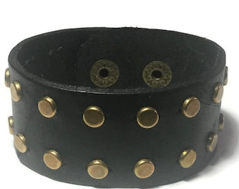 Studded Black Leather Cuff - Studded Leather Bracelet Cuff - Leather Bracelet - Studded Black Leather  Bracelet