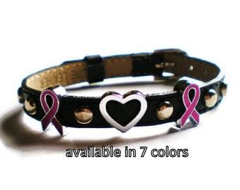 Leather Breast Cancer Awareness Bracelet - Breast Cancer Charm Bracelet - Genuine Black Leather Studded Breast Cancer Bracelet