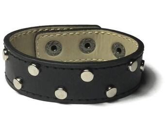fe27dff1d8207f Black Leather Cuff, Studded Black Leather Wide Cuff Bracelet - Leather  Bracelet - Studded Black Leather Bracelet Cuff