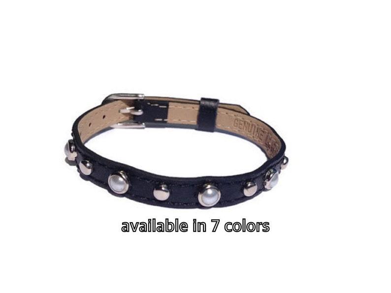 c662bcbb9148 Piedras preciosas perlas y pulsera de cuero pulsera