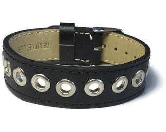 Eyelet Studded Leather Cuff, Grommet Studded Black Leather Cuff Bracelet - Leather Bracelet - Studded Black Leather Bracelet Cuff