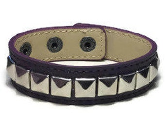 Dark Purple Leather Cuff - Studded Purple Leather Bracelet Cuff - Leather Bracelet - Studded Purple Leather  Bracelet