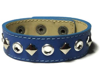 Studded Royal Blue Leather Cuff - Round Eyelet Studded Bue Leather Cuff Bracelet - Leather Bracelet - Studded Royal Blue Leather Cuff