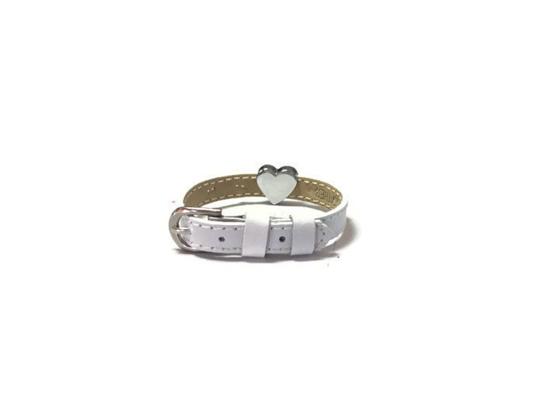 Little Girl/'s Bracelet Kids Slide Charm Bracelet Kids Bracelet White Leather Child/'s Heart Bracelet Little Girl/'s Buckle Bracelet