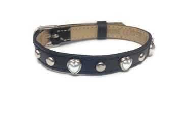 Pearl Heart Studded Leather Buckle Bracelet Wristband  - Studded Heart Bracelet - Studded Black Leather Adjustable Wristband