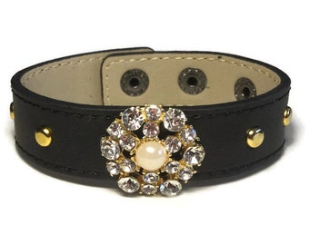 Embellished Studded Black Leather Cuff, Classy Cuff, Leather Wide Cuff Bracelet - Leather Bracelet - Studded Black Leather Bracelet Cuff