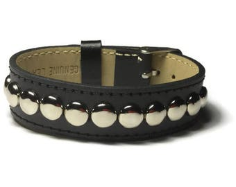 Black Leather Cuff, Studded Black Leather Wide Cuff Bracelet - Leather Bracelet - Studded Black Leather Bracelet Cuff