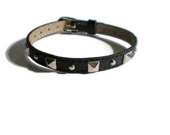 Pyramid Studded Black Leather Buckle Bracelet  -  Studded Leather Wristband - 8mm Black Leather Strap -  Adjustable Layering Bracelet