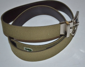 ca2a709da06465 Vintage Lacoste fabric leather belt alligator logo belt. Green
