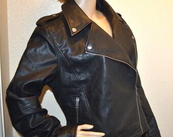 9969174955ce2 Vintage women LOFT black leather biker jacket blazer coat 90s size 14 Fall  Fashion NOS New steampunk jacket