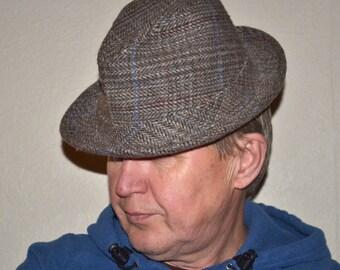 712ef28e Vintage Dobbs Fifth Avenue New York hat Dude Stuff. Size 57, 7 1/8. Tweed  gray blue brown Fedora