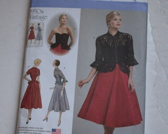 9e979e5117bec Simplicity sewing pattern 1250 1950s size 14-22 Misses' one piece dress and  jacket vintage fashion Original uncut