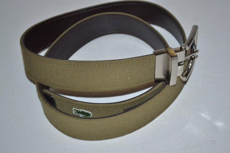 3aaa74f13bce0d Vintage Lacoste fabric leather belt alligator logo belt.