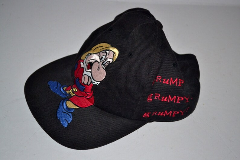0dad4cb039c Vintage Disney Grumpy Dwarf Black Adult Baseball Hat Cap