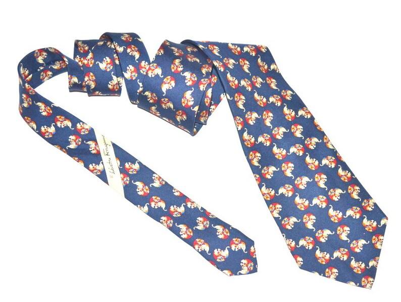 a3c15393b653 Vintage Necktie mens designer Salvatore Ferragamo 90s navy | Etsy