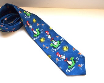 Vintage  Dr. Seuss The Cat in the Hat comes back 1994 tie Dude Stuff silk tie. Christmas gift