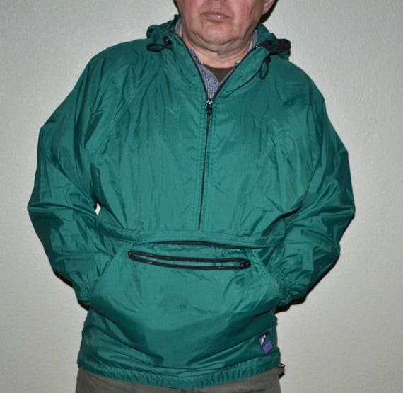 Veste vintage des années 90 Woolrich Rugged outdoorwer nylon Veste vert d'été de randonnée Sweat à capuche coupe-vent unisexe taille petite