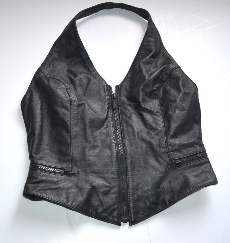 Vintage Wilsons women black leather Bustier top Crop Tube Top 90s size L body con biker zipped tube top Corset Style Vest Steampunk Goth