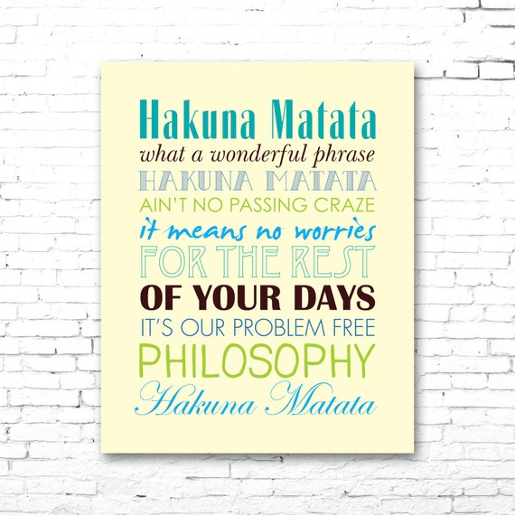 Lion King Hakuna Matata Printable Lyrics Artwork Etsy