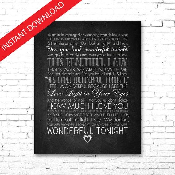 Lyrics wonderful tonight you look Eric Clapton