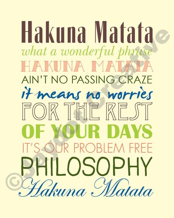 König Der Löwen Hakuna Matata Druckbare Songtext Etsy