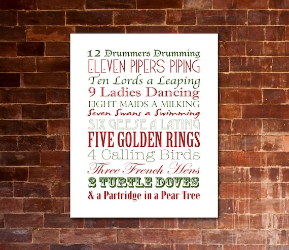 picture about 12 Days of Christmas Lyrics Printable titled 12 Times of Xmas Xmas Carol PRINTABLE Lyrics Art Crimson  Eco-friendly