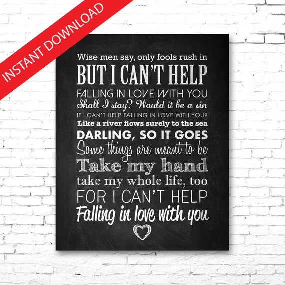 Elvis I Can/'t Help Falling In Love Personalised Favourite Song Print Mug Set