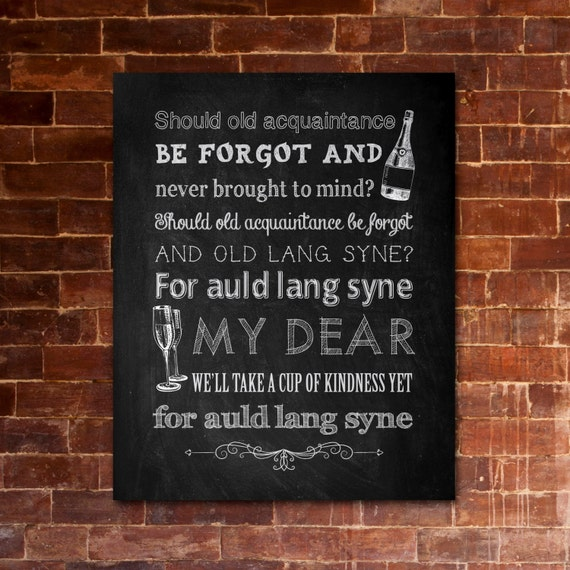 photograph about Auld Lang Syne Lyrics Printable identify Fresh new Decades Eve Auld Lang Syne Printable Lyrics Art Do it yourself  Invites/Social gathering Decorations Chalkboard Structure