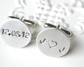EXPRESS SHIPPING Personalized handstamped cufflinks - you heart me special date keepsake cufflinks for the groom and groomsmen