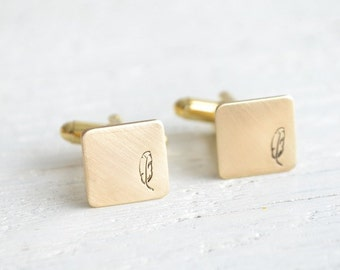 5X SETS Bohemian feather cufflinks - mens bohemian inspired antique brass square accessories  - made in the USA by white truffle
