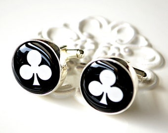 Clubs Cufflinks - black and white clubs cuff links - club cards cufflinks