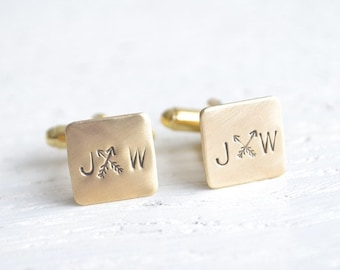 Arrow stamped cufflinks - personalized mens bohemian accessories for wedding day and every day - made in the USA by white truffle