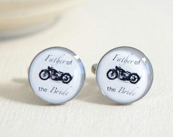 Father of the Bride Motorcycle Cufflinks - Stainless Steel Black and White Bike Wedding Cuff Links for Dad
