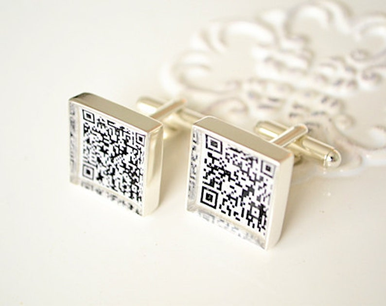 bar code jewelry Secret message jewelry geek tech cufflinks QR Code Cufflinks personalized jewelry