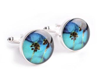 Blue Sky Palms Cufflinks - Stainless steel mens accessories CC005