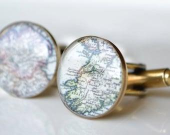 Custom Vintage Map Cufflinks - antique bronze gold - keepsake gift for him the world traveler