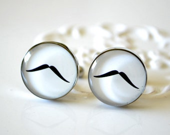 Mustache cufflinks - black and white - gift for groomsmen groom bridal party for your wedding day 003
