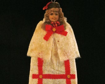 Reproduction Victorian Flat Cotton Christmas Ornament of a Girl in Holiday Dress