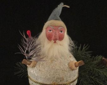 "Reproduction German Style ""Squeaker"" Santa Claus, Dresden Trim and Rabbit Fur Beard"
